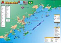 Mapa das lindas praias de Ubatuba