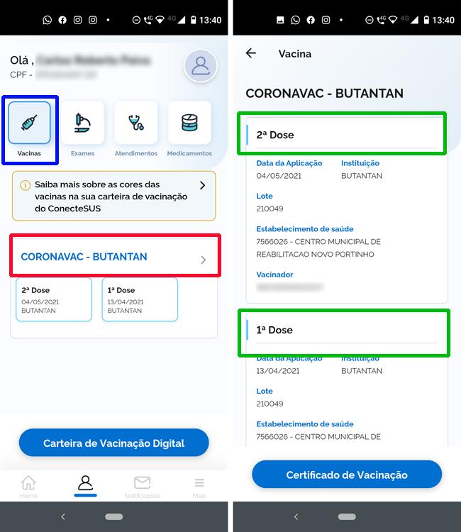 Detalhes das Vacinas registradas no aplicativo Conect-SUS