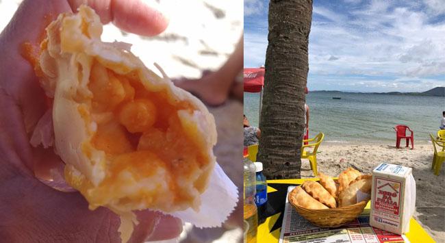 Pastel de camarão no Xodó da Praia na Praia do Sudoeste em São Pedro da Aldeia