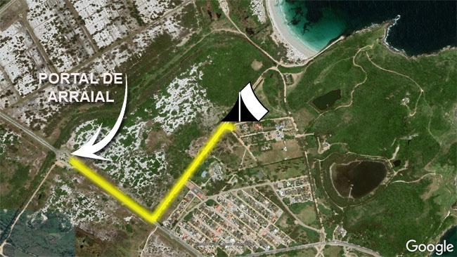 Mapa com a localização do camipng Curió do Bico Doce em Arraial do Cabo