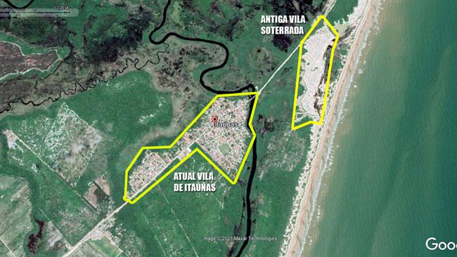 A foto mostra a vila original soterrada pelas dunas e a atual vila de Itaúnas, que cresceu do outro lado do rio