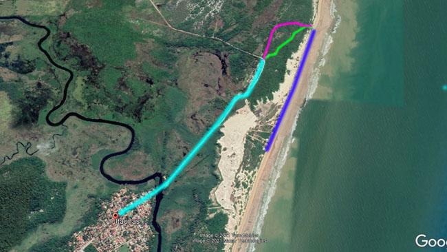 Percurso da Trilha do Pescador a partir da vila de Itaúnas/ES