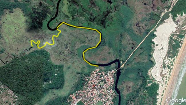 Trecho de caiaque no rio Itaunas ES